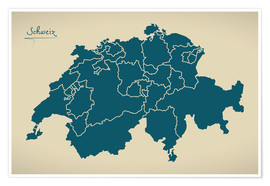 Premium poster Switzerland Modern Map Artwork Design