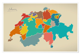 Poster Switzerland Modern Map Artwork Design