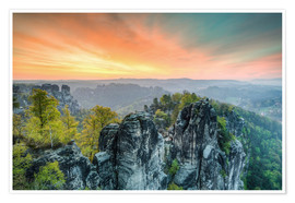 Premium poster  Bastion Saxon Switzerland Sunrise - Michael Valjak