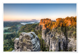 Premium poster  Saxon Switzerland in the morning - Michael Valjak