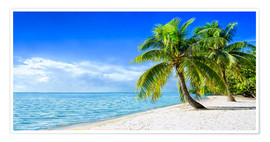 Premium poster Holiday at the beach with palm trees and sea