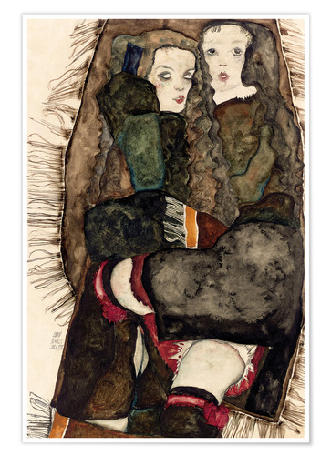 Premium poster Two Girls on a Fringed Blanket