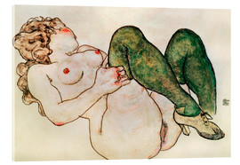 Acrylic print  Nude with green stockings - Egon Schiele