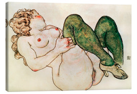 Canvas  Nude with green stockings - Egon Schiele