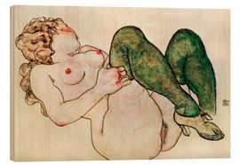 Wood print  Nude with green stockings - Egon Schiele