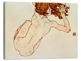 Canvas  Crouching nude, back view - Egon Schiele