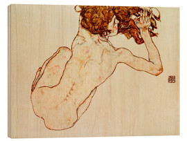 Wood  Crouching nude, back view - Egon Schiele