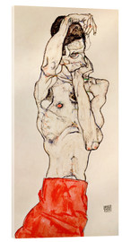 Acrylic glass  Male nude, standing, with red loincloth - Egon Schiele