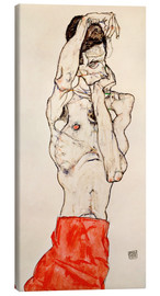 Canvas print  Male nude, standing, with red loincloth - Egon Schiele