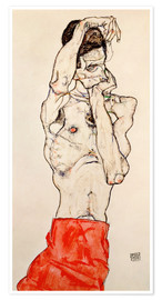 Poster  Male nude, standing, with red loincloth - Egon Schiele