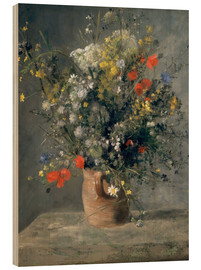 Wood print  Flowers in a Vase - Pierre-Auguste Renoir