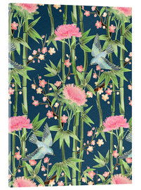 Acrylic print  bamboo birds and blossoms on teal - Micklyn Le Feuvre