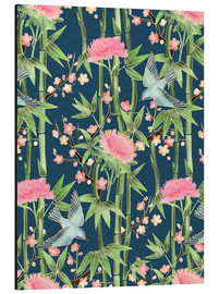 Aluminium print  bamboo birds and blossoms on teal - Micklyn Le Feuvre