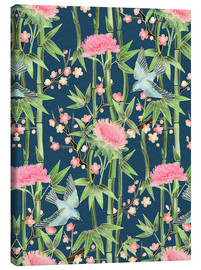 Canvas  bamboo birds and blossoms on teal - Micklyn Le Feuvre
