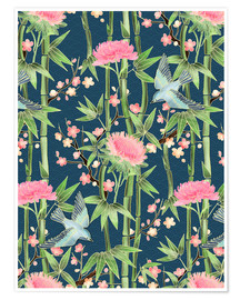 Premium poster  bamboo birds and blossoms on teal - Micklyn Le Feuvre