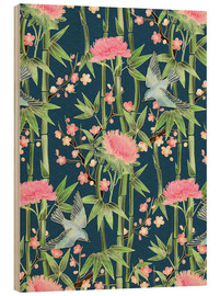 Wood  bamboo birds and blossoms on teal - Micklyn Le Feuvre