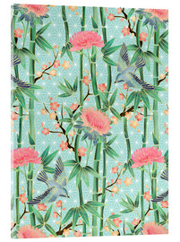 Acrylic print  bamboo birds and blossoms on mint - Micklyn Le Feuvre