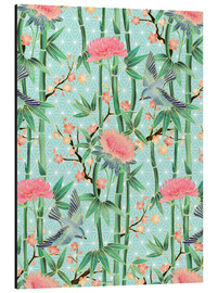 Aluminium print  bamboo birds and blossoms on mint - Micklyn Le Feuvre