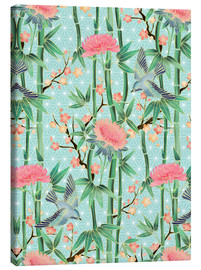 Canvas print  bamboo birds and blossoms on mint - Micklyn Le Feuvre