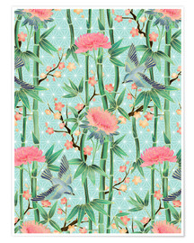 Premium poster bamboo birds and blossoms on mint