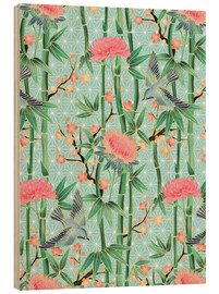 Wood print  bamboo birds and blossoms on mint - Micklyn Le Feuvre