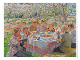 Premium poster  Children group in the garden with flowering apple trees - Nikolay Bogdanov-Belsky