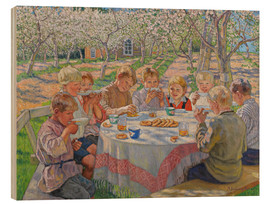 Wood print  Children group in the garden with flowering apple trees - Nikolay Bogdanov-Belsky