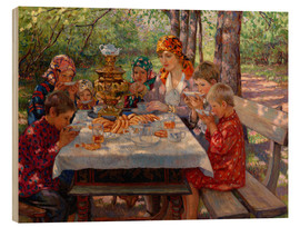 Wood print  The Teacher's Guests - Nikolay Bogdanov-Belsky