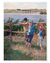 Premium poster  Children at the lake - Nikolay Bogdanov-Belsky