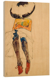 Wood print  Nude with hat - Egon Schiele