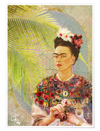 Poster  Frida Kahlo With Deer - Moon Berry Prints