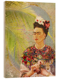 Wood  Frida Kahlo With Deer - Moon Berry Prints
