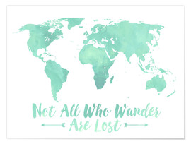 Premium poster Watercolor World Map Mint