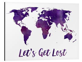 Alu-Dibond  World map purple - Mod Pop Deco