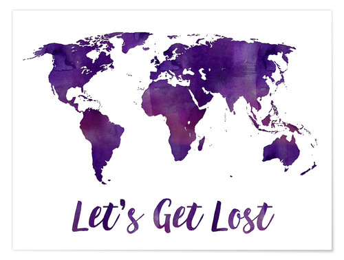 Uk In Map Of World.Premium Poster World Map Purple