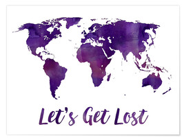 Premium poster World map purple
