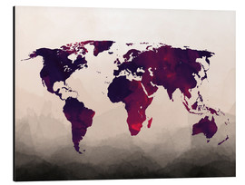 Alu-Dibond  World Map Reddish Purple - Mod Pop Deco
