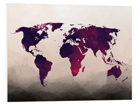 Forex  World Map Reddish Purple - Mod Pop Deco