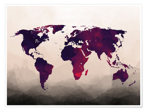 Premium poster World Map Red Purple