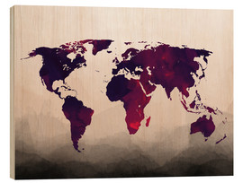Wood  World Map Reddish Purple - Mod Pop Deco