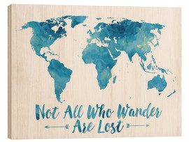 Wood  World Map Watercolor Blue - Mod Pop Deco