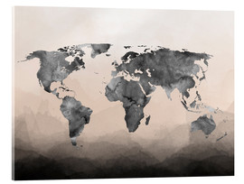 Acrylic glass  Charcoal world map - Mod Pop Deco