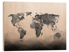 Wood  Charcoal Nude Map Black - Mod Pop Deco