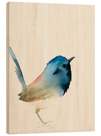 Wood print  Dark blue bird - Dearpumpernickel