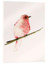Acrylic glass  Rasberry red bird - Dearpumpernickel