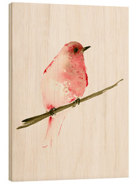 Wood  Rasberry red bird - Dearpumpernickel