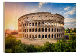 Wood print  Colosseum at sunset in Rome, Italy - Jan Christopher Becke
