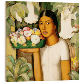 Wood print  Mujer con flores - Alfredo Ramos Martinez