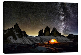 Canvas print  Loneley camper with Milky Way at Dolomites - Dieter Meyrl