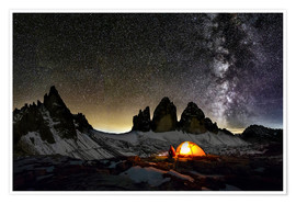 Poster  Loneley camper with Milky Way at Dolomites - Dieter Meyrl